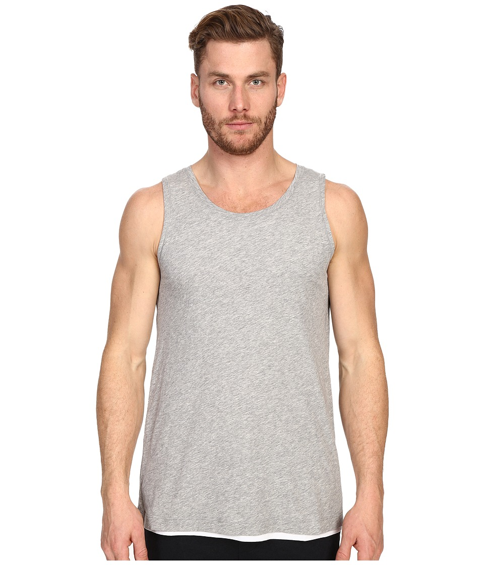 Vince - Pima Double Layer Reversible Tank Top (Heather Steel/Optic White) Men's Sleeveless