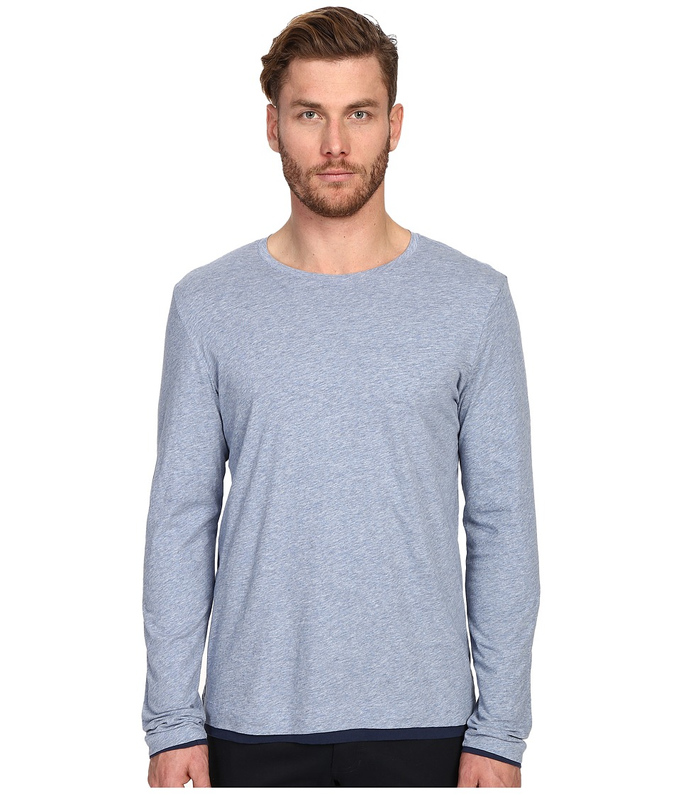 Vince - Pima Long Sleeve Double Layer Crew Neck T-Shirt (Heather Denim/Indigo) Men's T Shirt