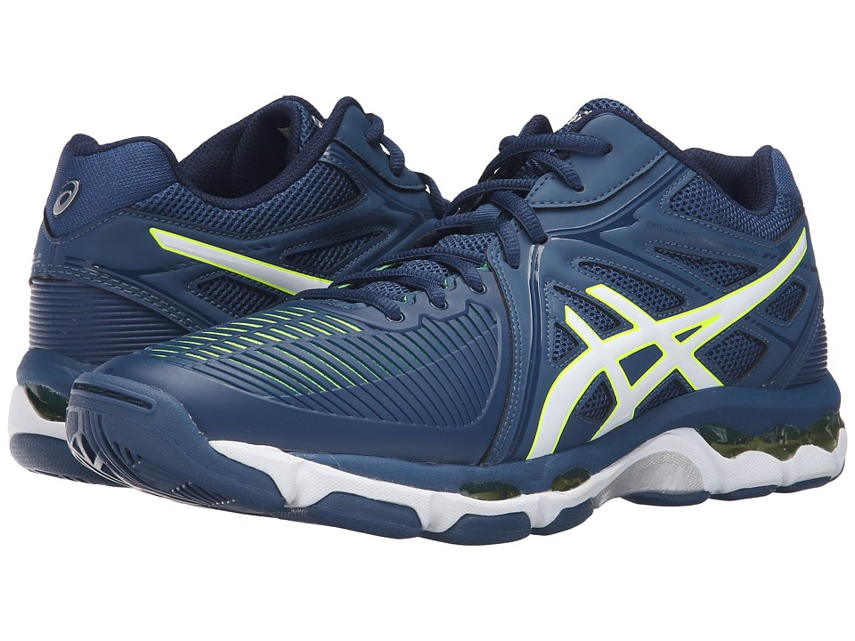 ASICS - GEL-Netburner Ballistic MT (Poseidon/White/Safety Yellow) Men's Volleyball Shoes