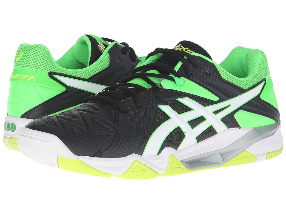 ASICS - GEL-Cyber Sensei (Black/White/Green Gecko) Men's Volleyball Shoes
