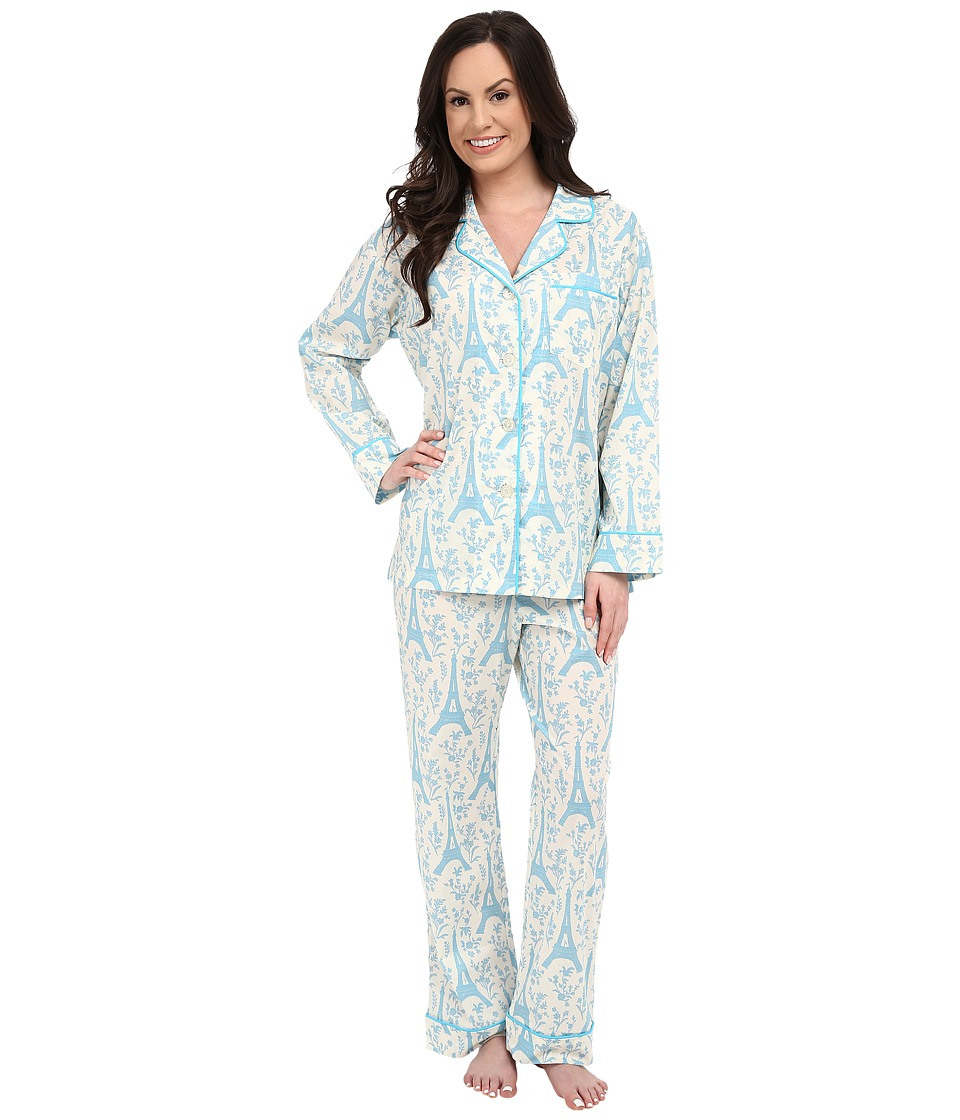 BedHead - Long Sleeve Classic PJ Set (Blue Eiffel Tower) Women's Pajama Sets