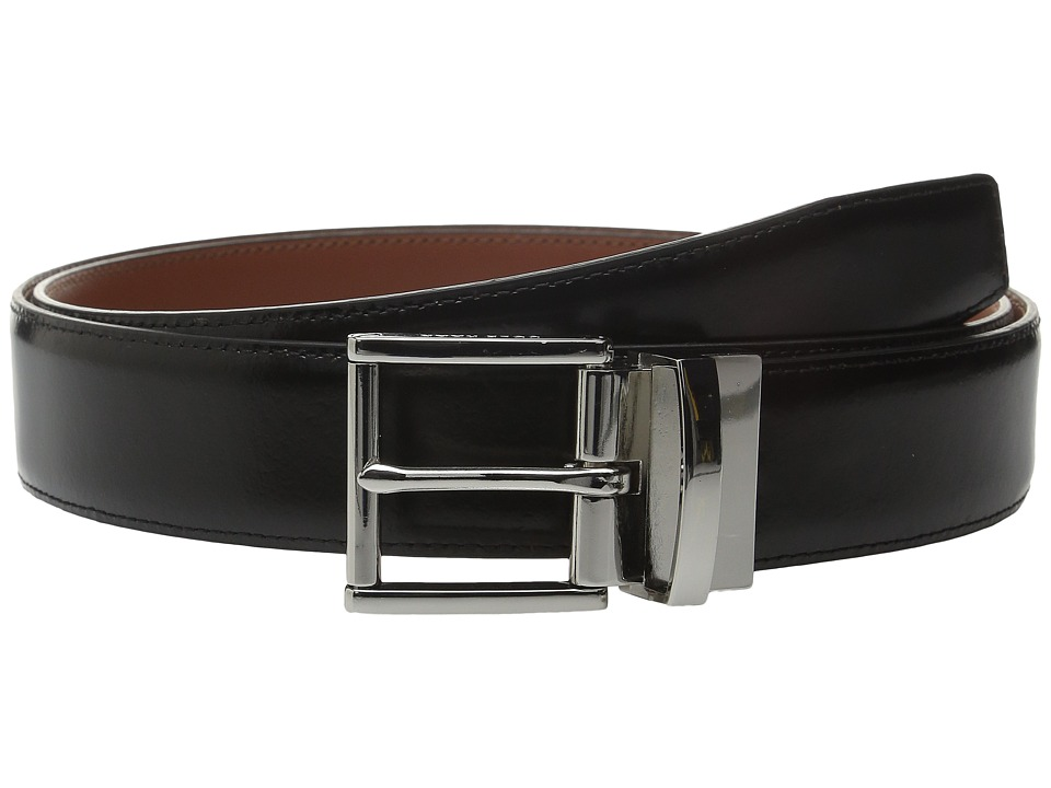 Cole Haan - 35mm Reversible Stitched Feather Edge Spazzolato Belt (Black) Men's Belts