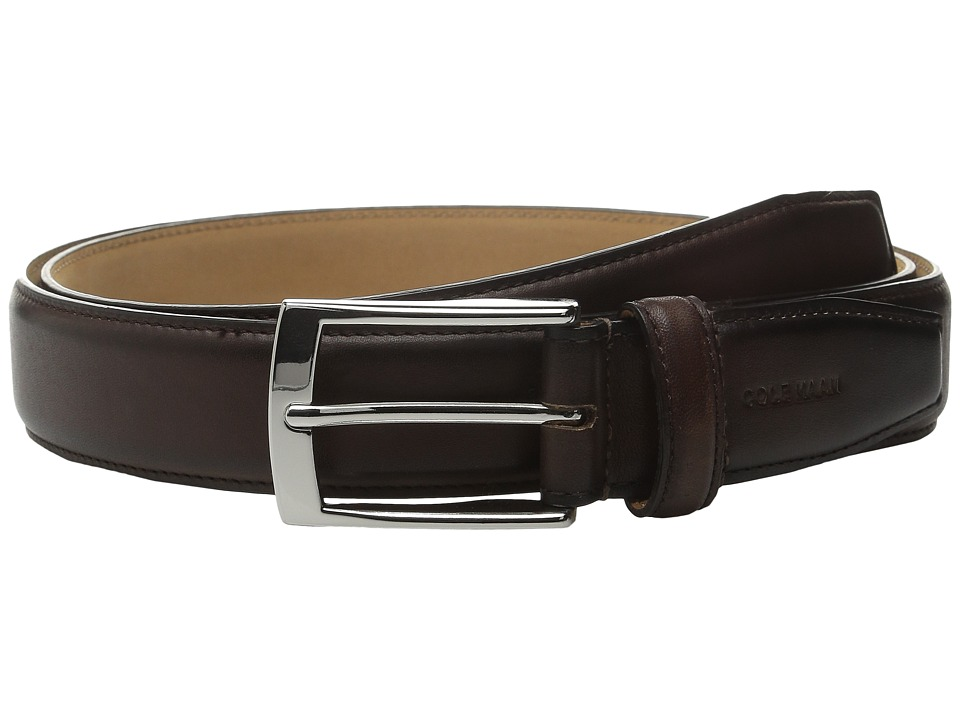 Cole Haan - 32mm Stitched Pressed Edge Belt with Tab (Chestnut) Men's Belts