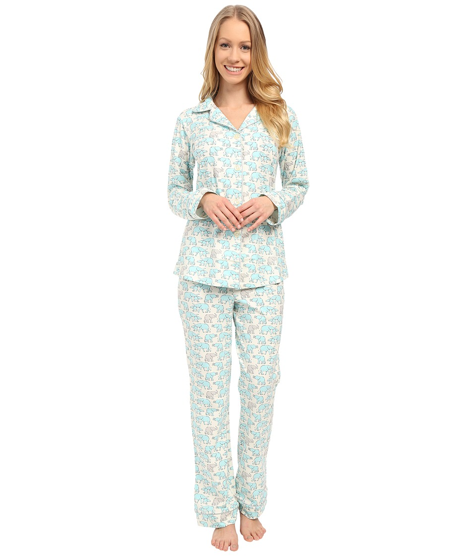 BedHead - Classic Stretch PJ Set (Blue Elephants) Women's Pajama Sets