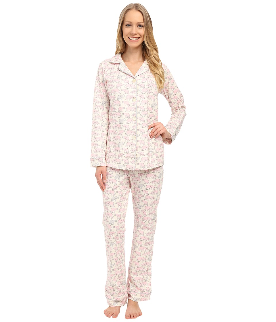 BedHead - Classic Stretch PJ Set (Pink Elephants) Women's Pajama Sets