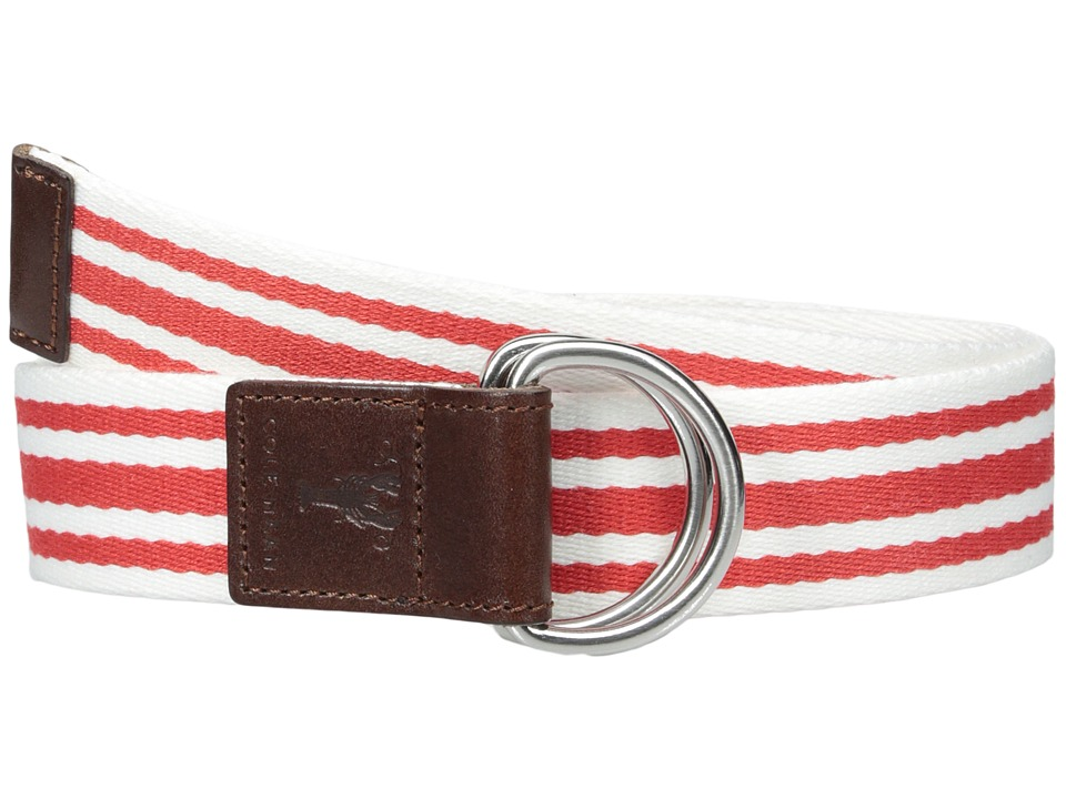 Cole Haan - 38mm D-Ring Webbing Pinch Belt (Red/White) Women