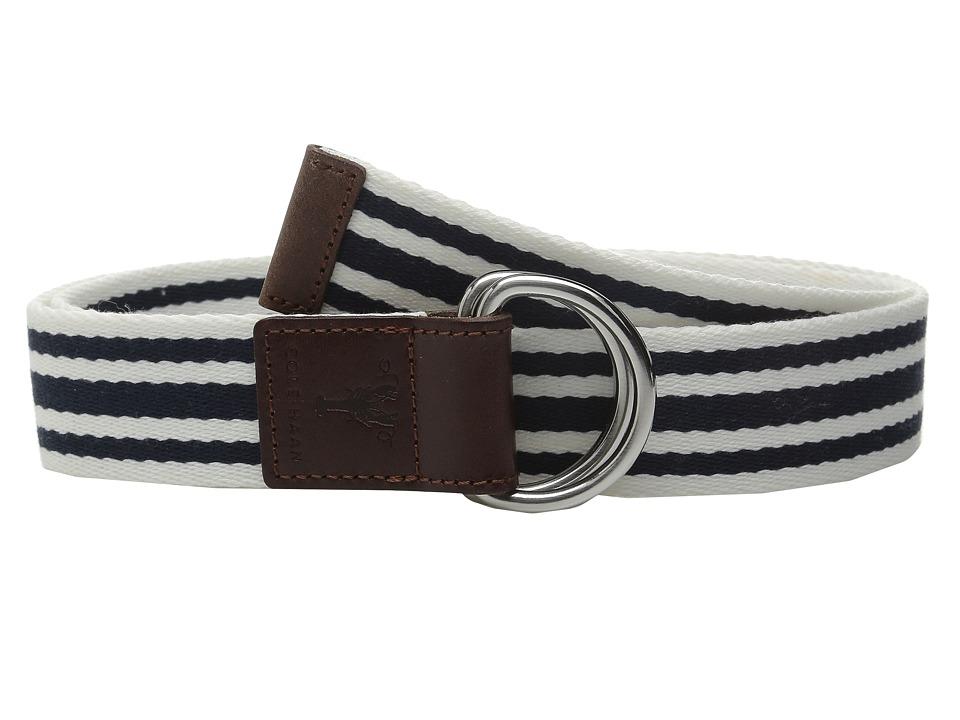Cole Haan - 38mm D-Ring Webbing Pinch Belt (Blue/White) Women's Belts
