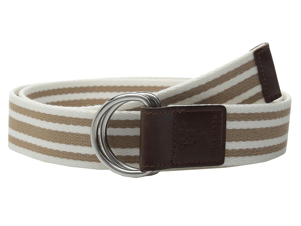 Cole Haan - 38mm D-Ring Webbing Pinch Belt (Maple Sugar/White) Women's Belts