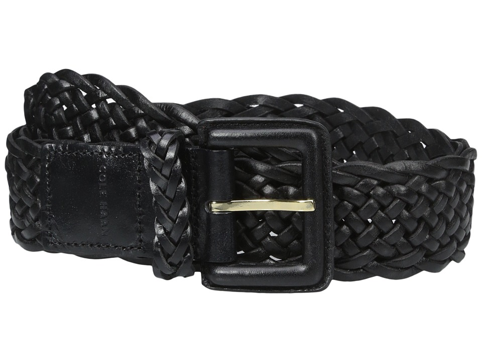 Cole Haan - 40mm Braided Veg Leather Belt with Covered Harness Buckle (Black) Women's Belts