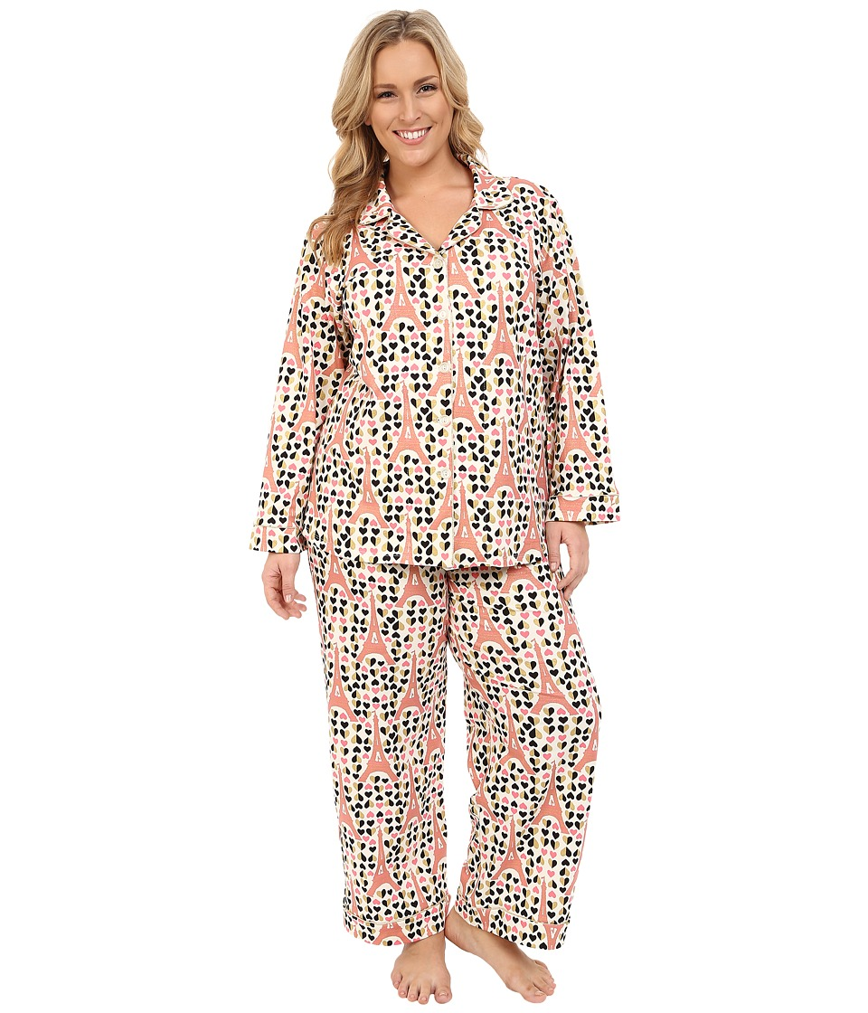 BedHead - Plus Size Long Sleeve Classic PJ Set (Eiffel Hearts) Women's Pajama Sets plus size,  plus size fashion plus size appare
