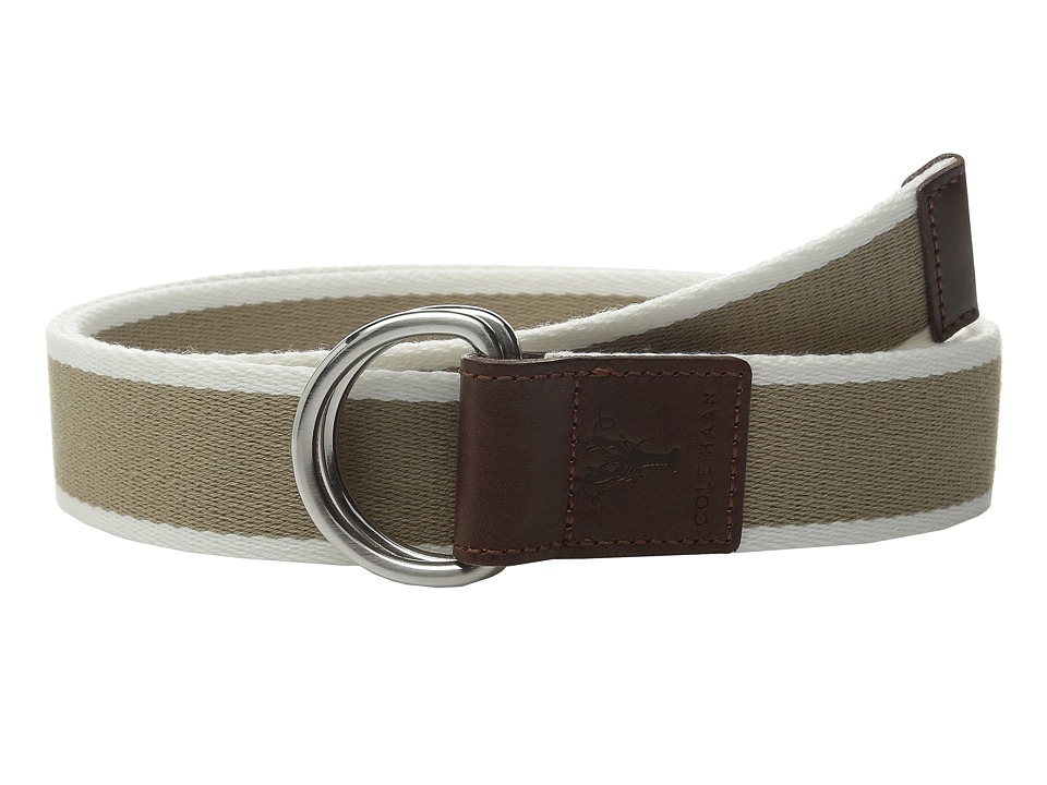 Cole Haan - 38mm Stripe Webbing Belt with Leather Trim and Double D-Rings (Dune) Men's Belts