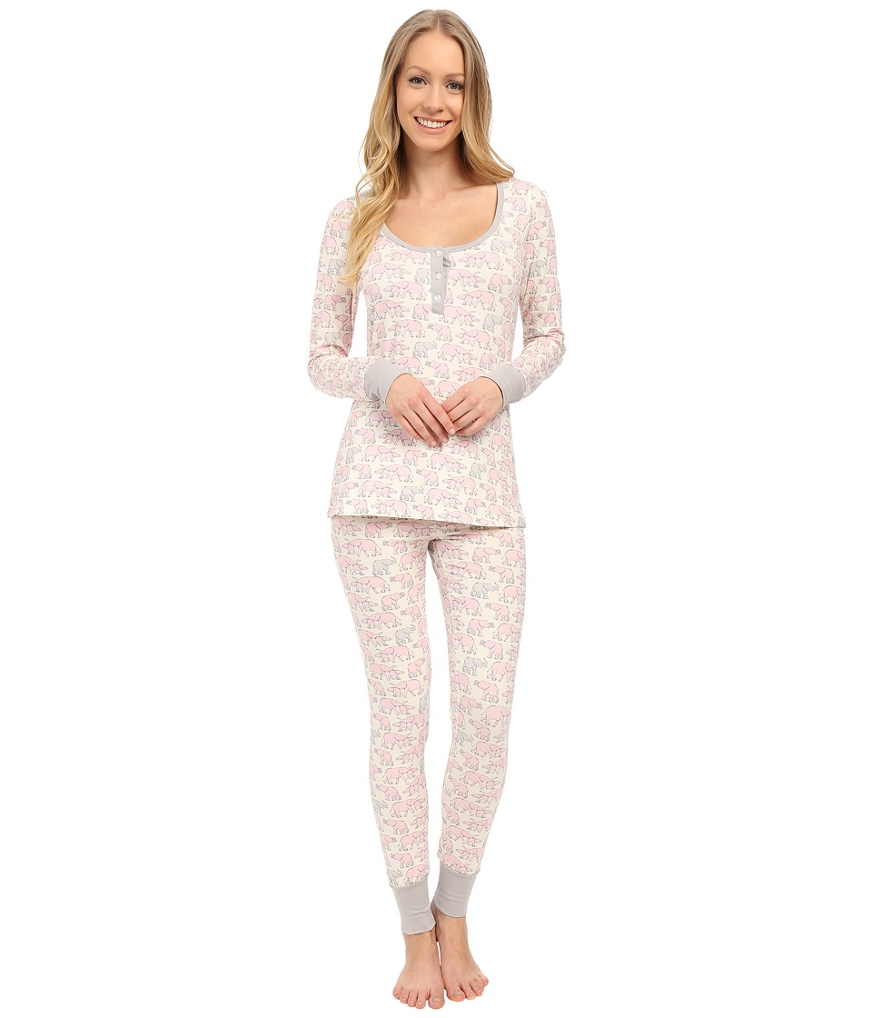 BedHead - Henley Stretch PJ Set (Pink Elephants) Women's Pajama Sets