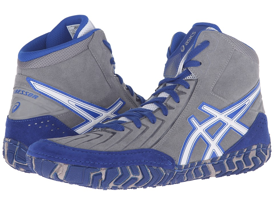 ASICS - Aggressor 3 (Aluminum/White/Olympian Blue) Men's Wrestling Shoes