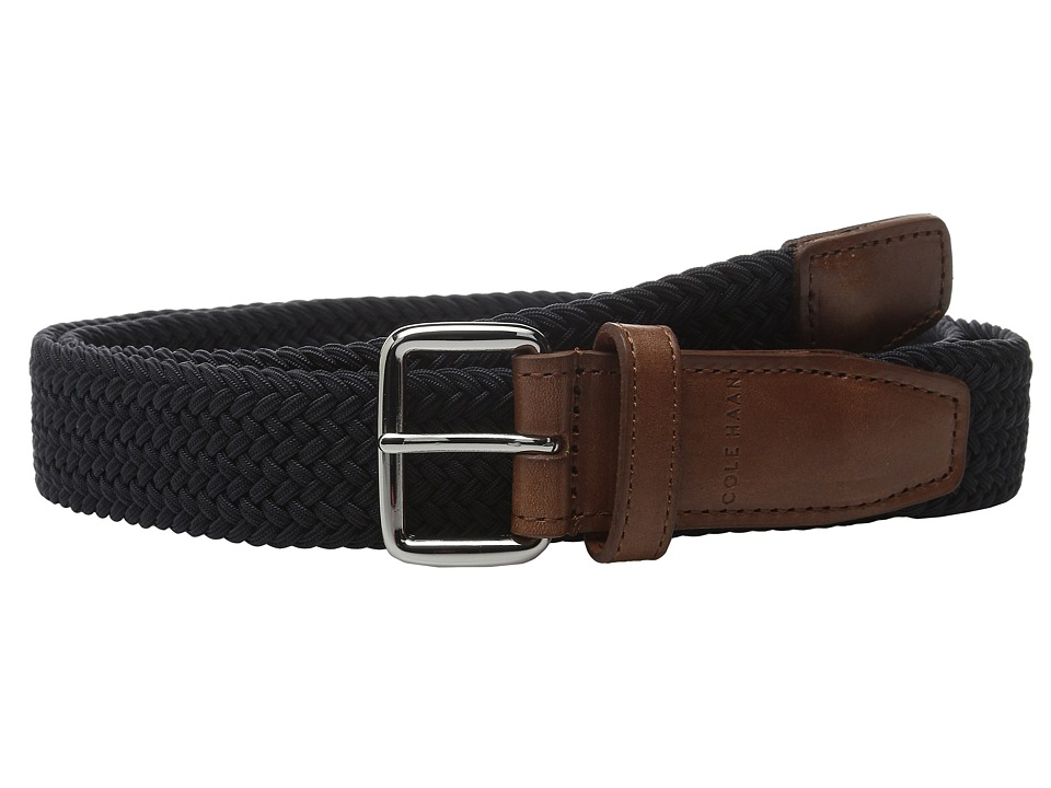 Cole Haan - 35mm Woven Elastic Strap with Leather Trim Belt (Navy) Men's Belts