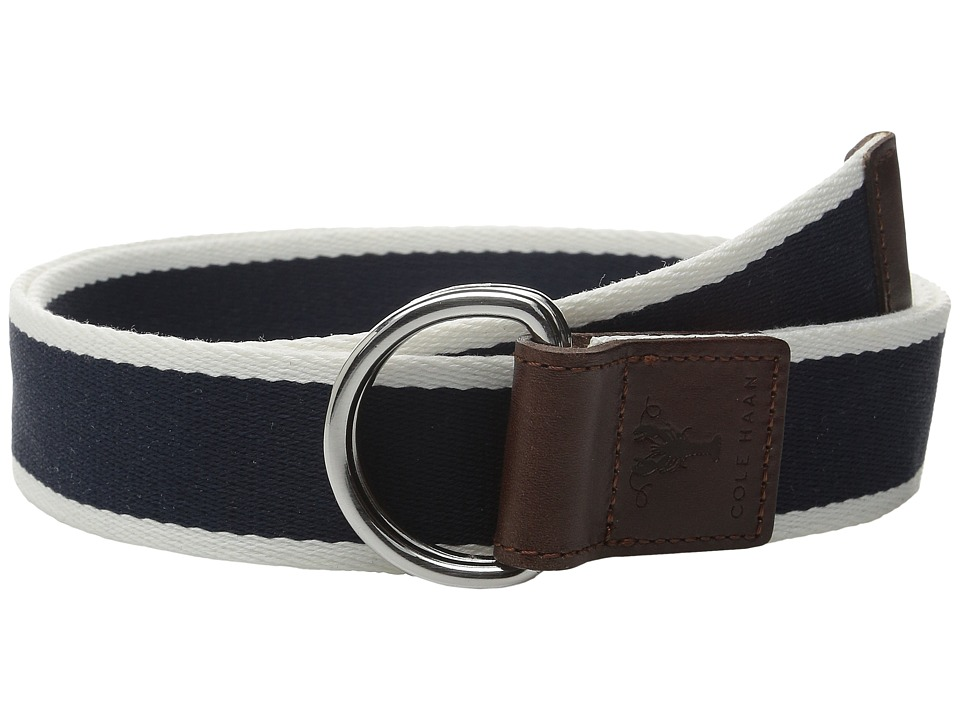 Cole Haan - 38mm Stripe Webbing Belt with Leather Trim and Double D-Rings (Blue) Men's Belts