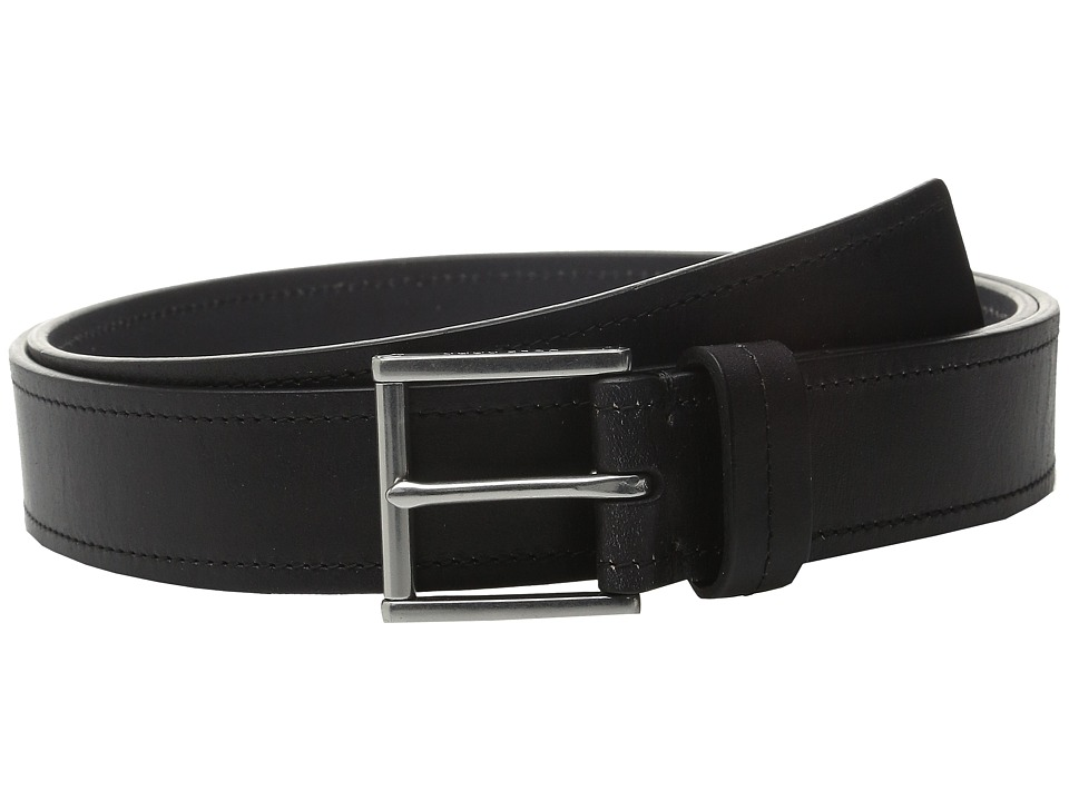 Cole Haan - 35mm Flat Strap with Stitch and Burnishing Belt (Black) Men's Belts