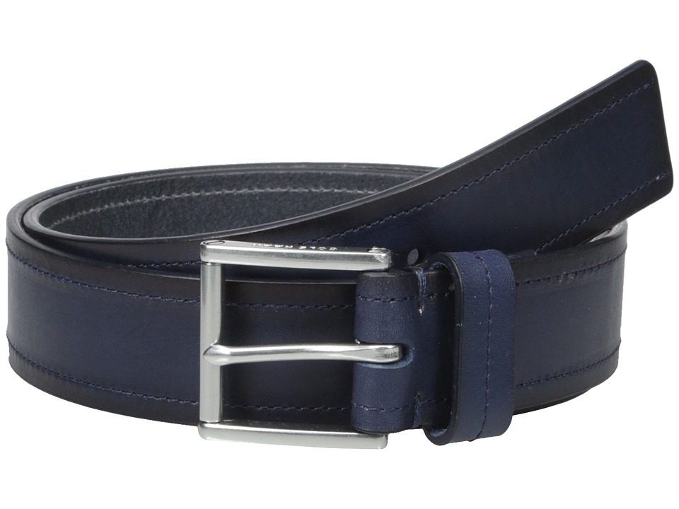 Cole Haan - 35mm Flat Strap with Stitch and Burnishing Belt (Blue) Men's Belts
