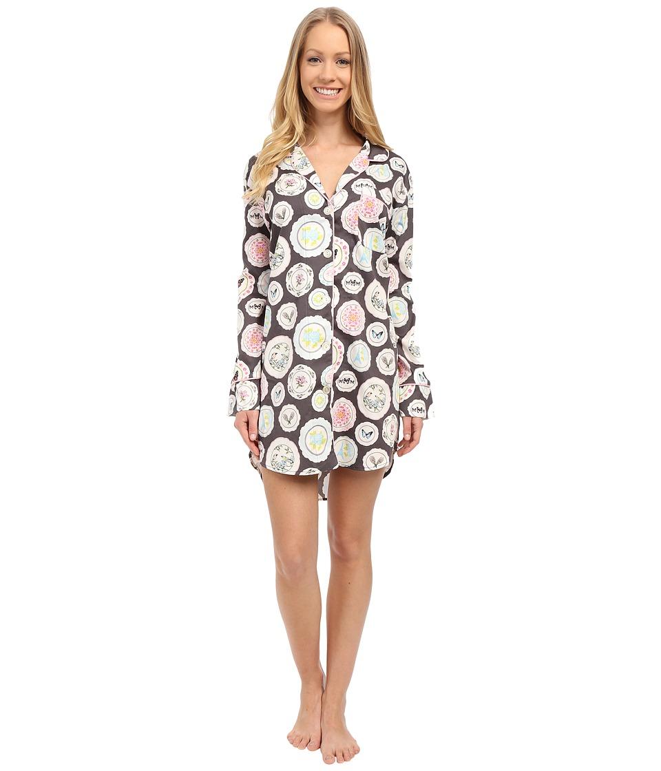 BedHead - Long Sleeve Classic Nightshirt (Charcoal Plat Du Jour) Women's Pajama
