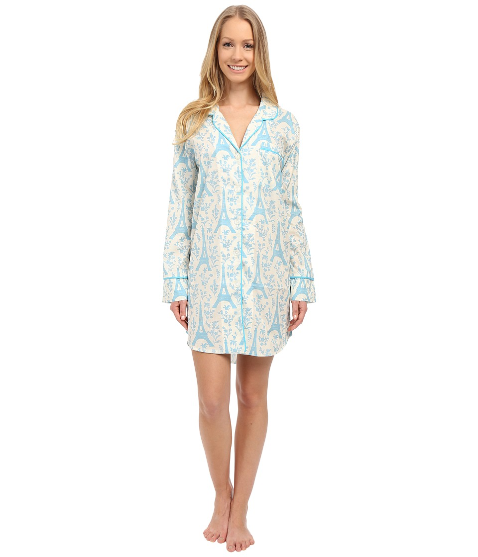 BedHead - Long Sleeve High-Low Hem Nightshirt (Blue Eiffel Tower) Women's Pajama