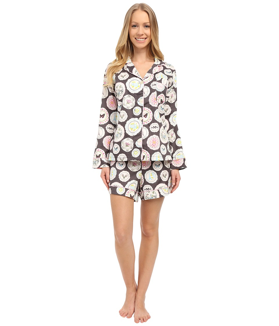 BedHead - Long Sleeve Classic Shorts Pajama Set (Charcoal Plat Du Jour) Women's Pajama Sets