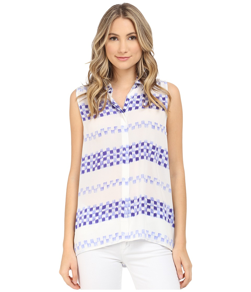 EQUIPMENT - Milla Sleeveless Top (Nature White/Biro Blue) Women's Sleeveless