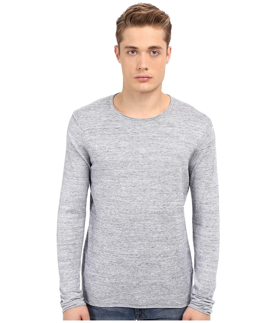 Vince - Sporty Jaspe Long Sleeve Crew (Heather Herring) Men's Sweater