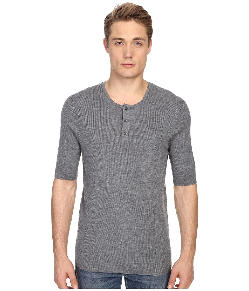 Vince Wool Silk Short Sleeve Rib Henley (Heather Cinder) Men