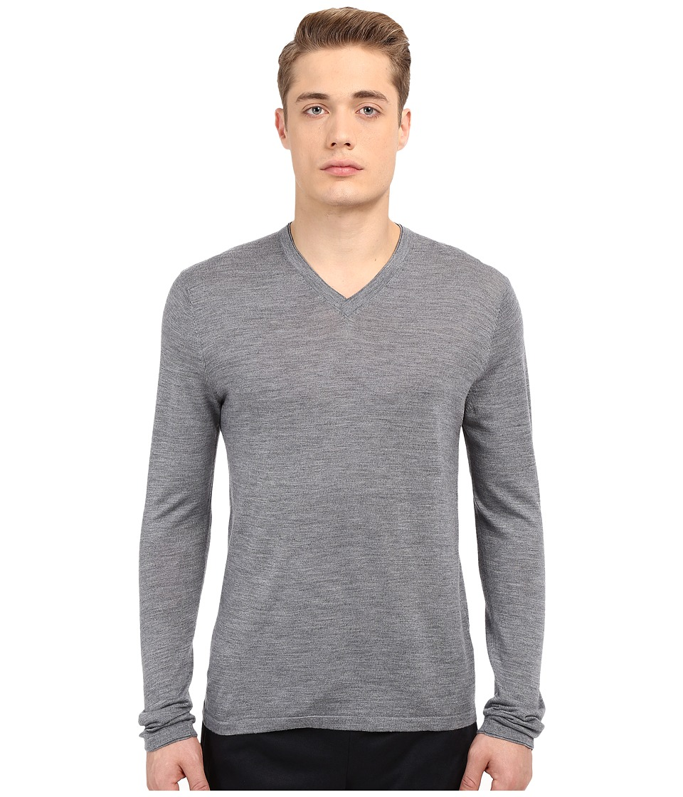 Vince - Wool Silk Long Sleeve Jersey V-Neck (Heather Cinder) Men's T Shirt