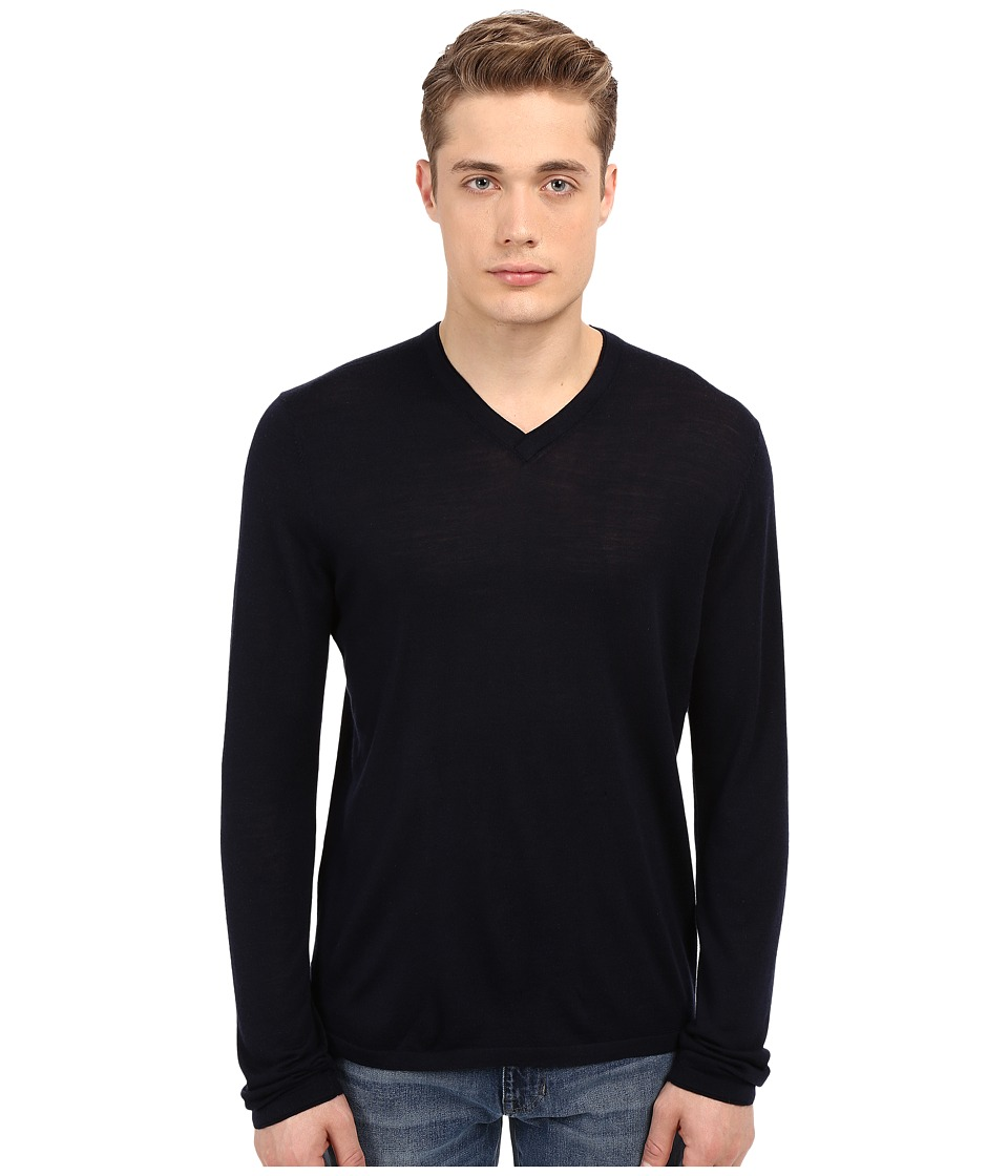 Vince - Wool Silk Long Sleeve Jersey V-Neck (Coastal Blue) Men's T Shirt