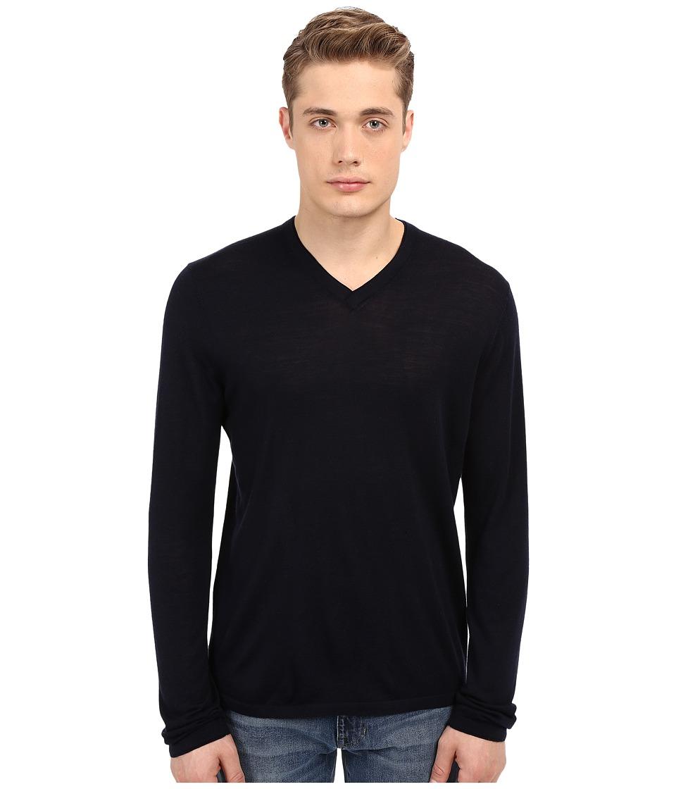 Vince - Wool Silk Long Sleeve Jersey V-Neck (Coastal Blue) Men's T Shirt