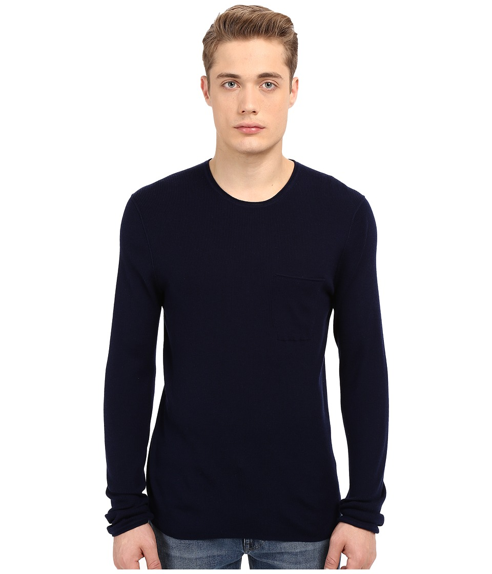 Vince - Wool Silk Long Sleeve Rib w/ Pocket (Indigo) Men's Sweater