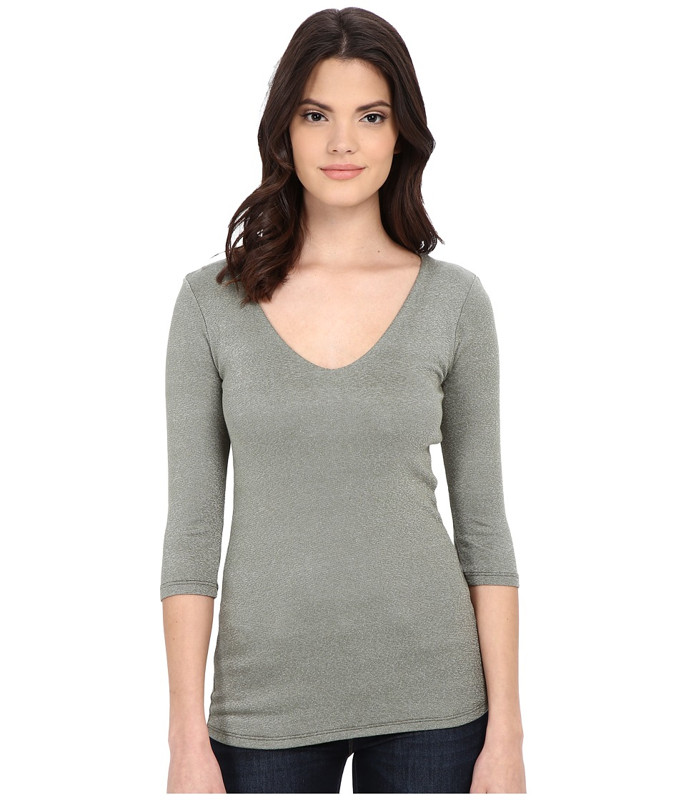Michael Stars - Shine 3/4 Sleeve Double Front V-Neck (Olive) Women's Long Sleeve Pullover