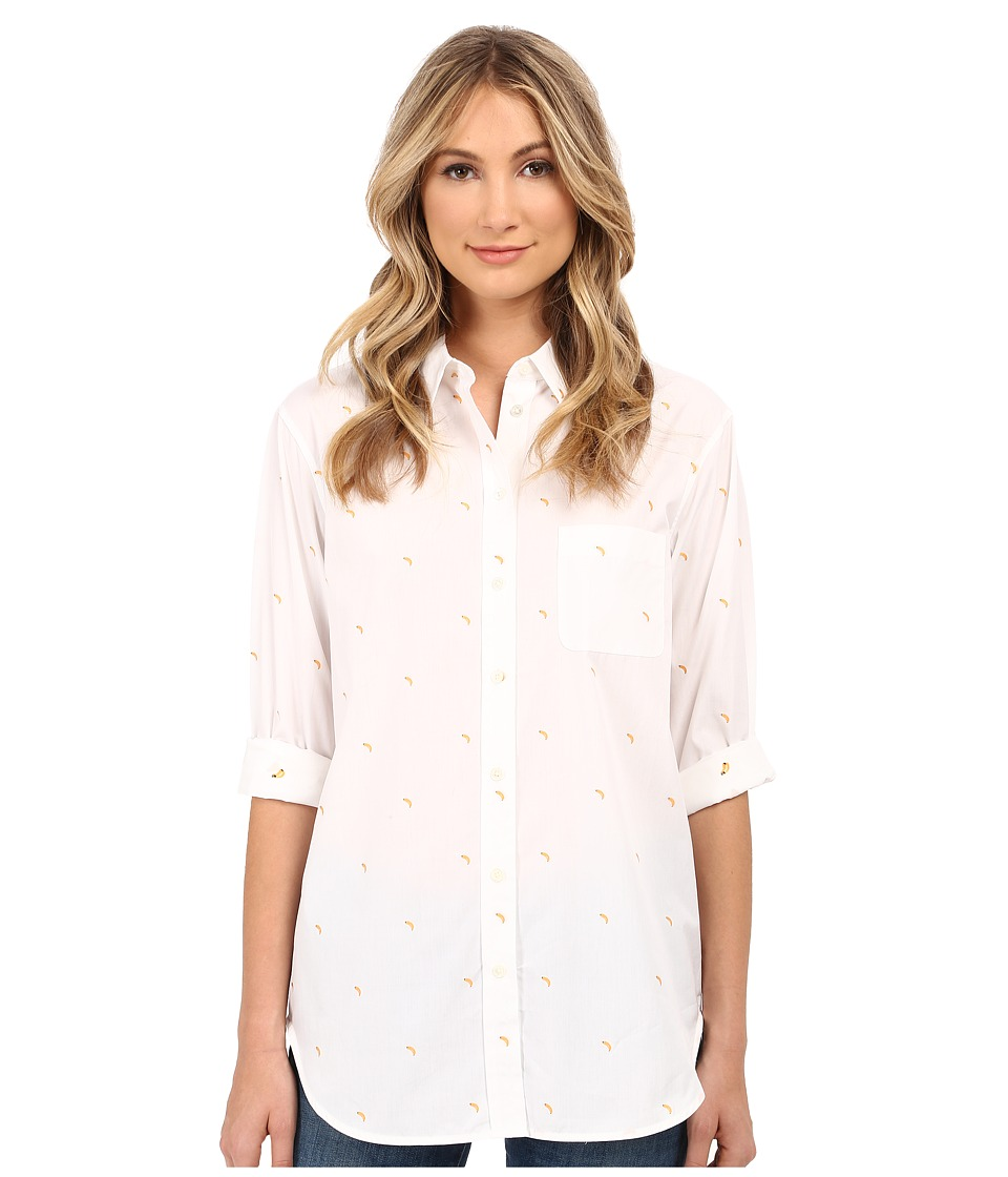 EQUIPMENT - Kenton Button Up with Banana Embroidery (Bright White) Women's Long Sleeve Button Up