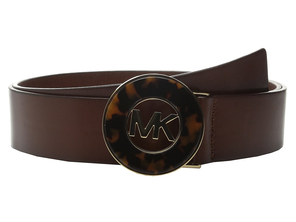 MICHAEL Michael Kors - 40mm Veg Leather Panel on Tortoise Inlay Plaque Buckle (Luggage) Women's Belts