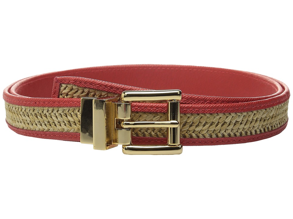 MICHAEL Michael Kors - 25mm Reversible Straw Belt with Saffiano Binding and Eyelets (Coral) Women's Belts