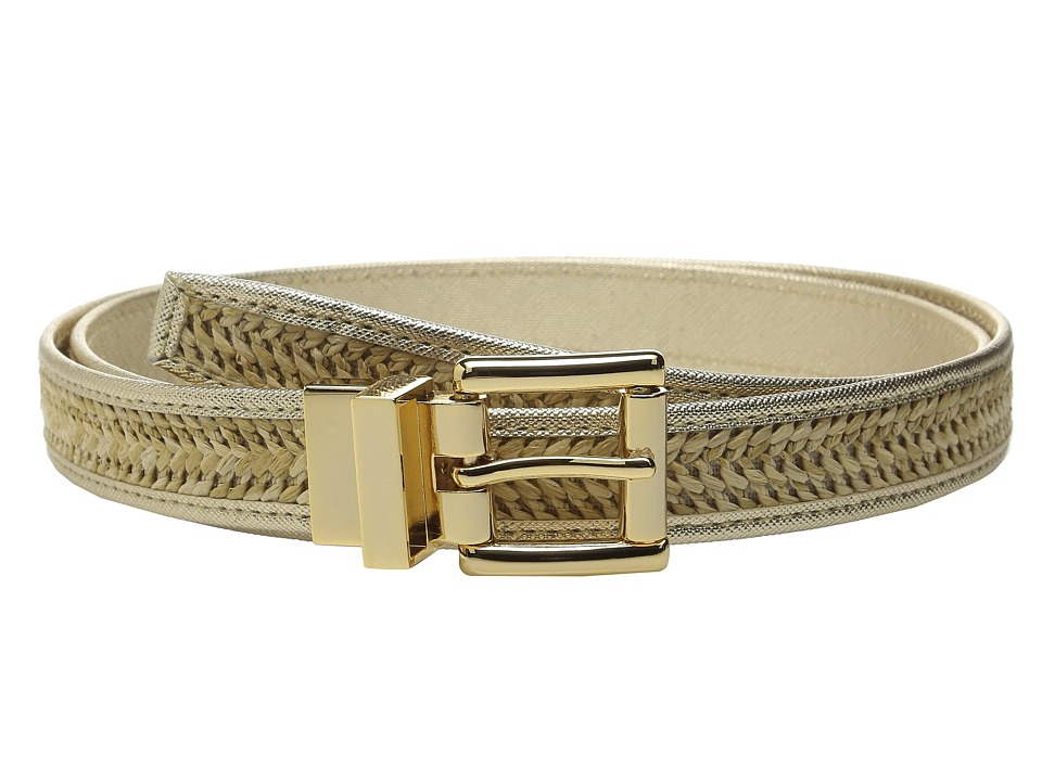 MICHAEL Michael Kors - 25mm Reversible Straw Belt with Saffiano Binding and Eyelets (Gold) Women's Belts