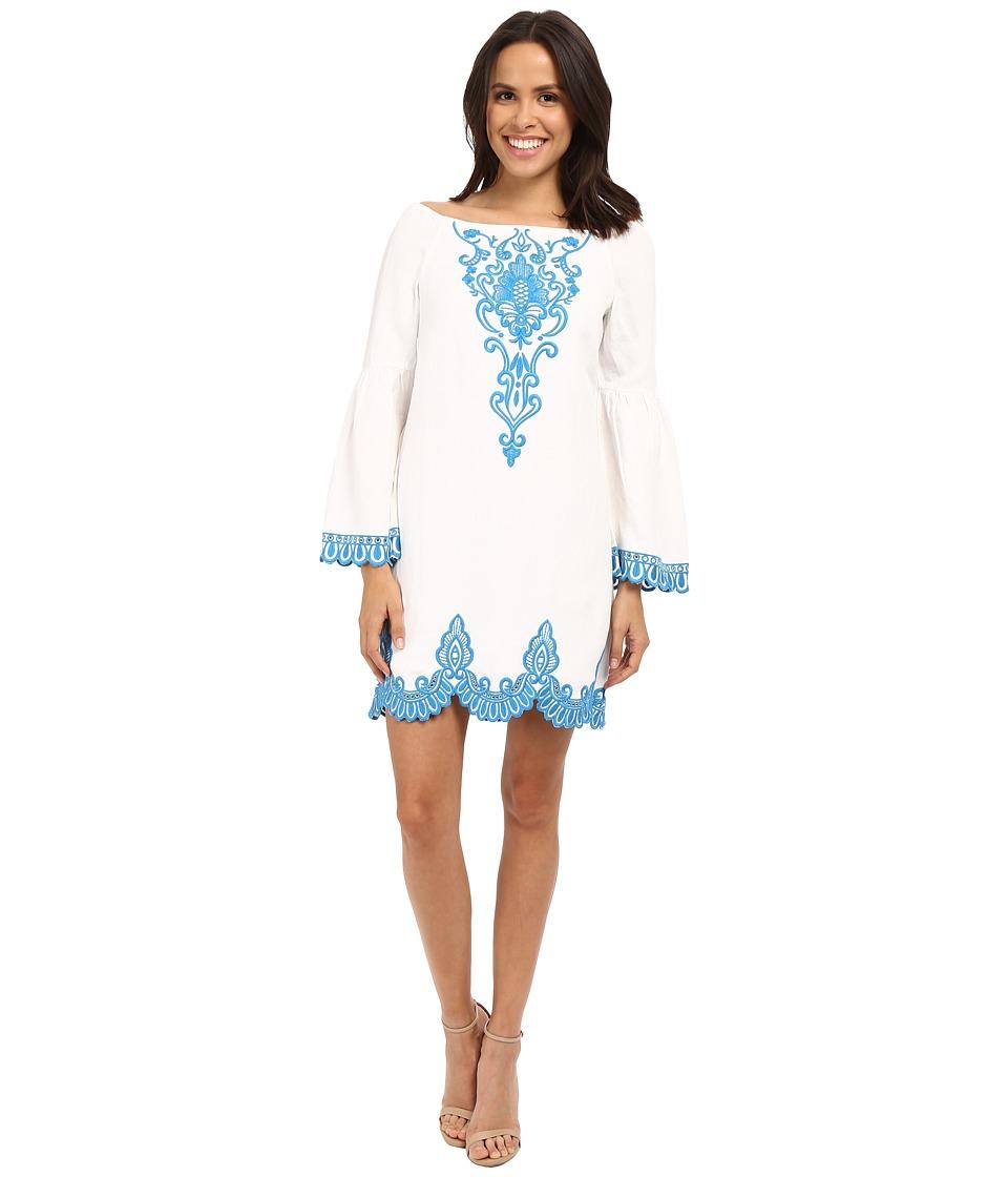 Nanette Lepore Rendezvous Shift Dress (Ivory/Azul) Women