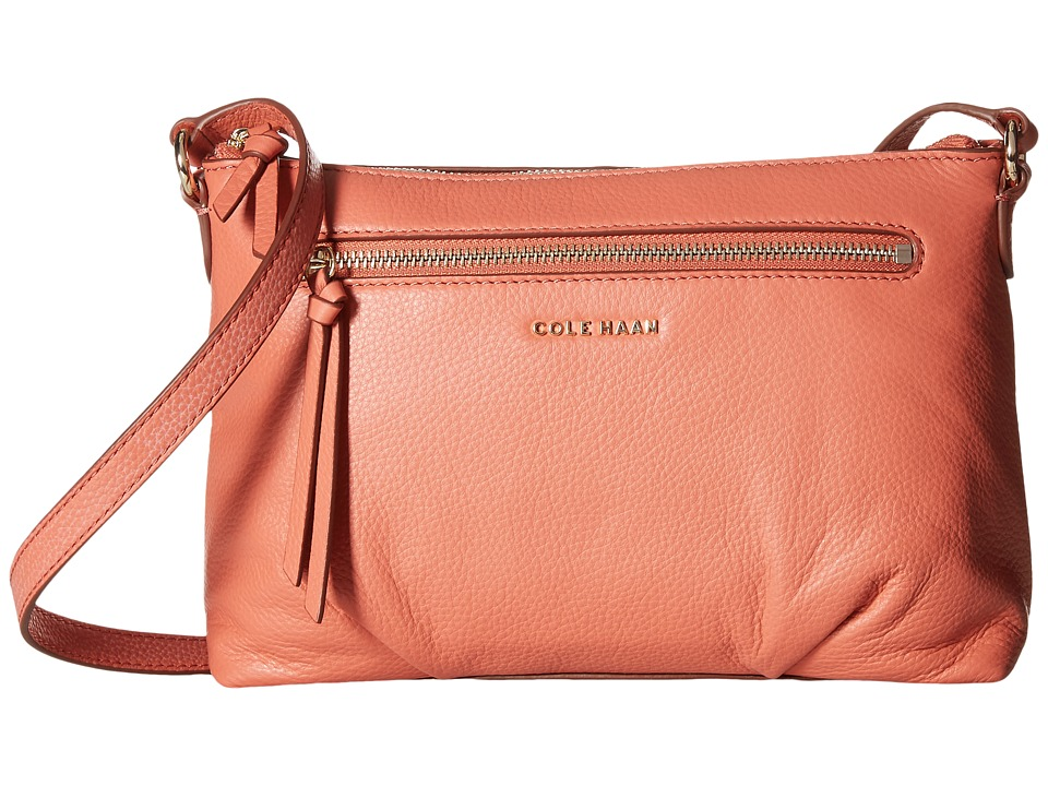 Cole Haan - Magnolia Top Zip Crossbody (Coral) Cross Body Handbags