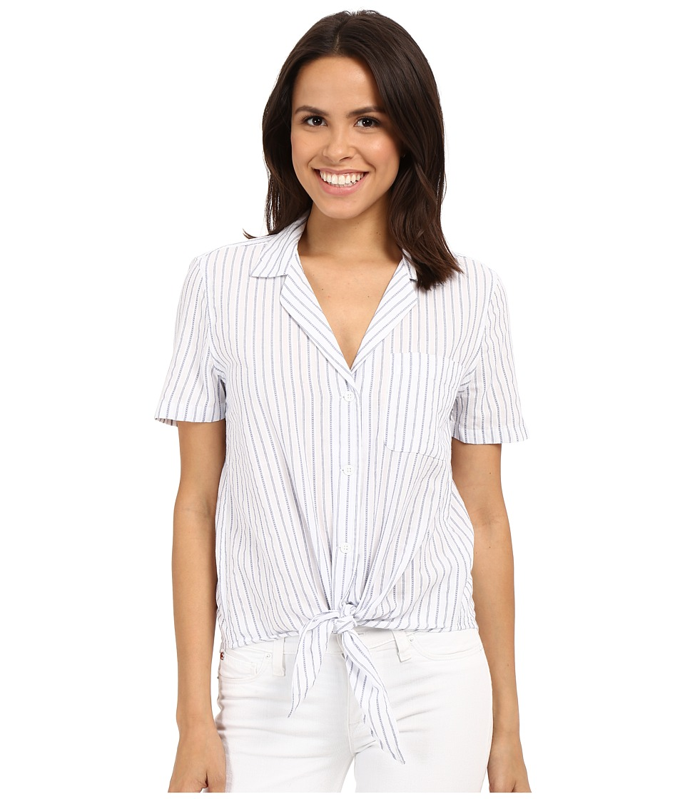EQUIPMENT - Short Sleeve Keira Tie Front (Bright White Multi) Women's Short Sleeve Button Up