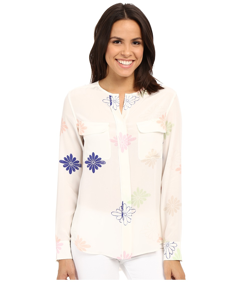 EQUIPMENT - Lynn (Bright White Multi) Women's Long Sleeve Button Up