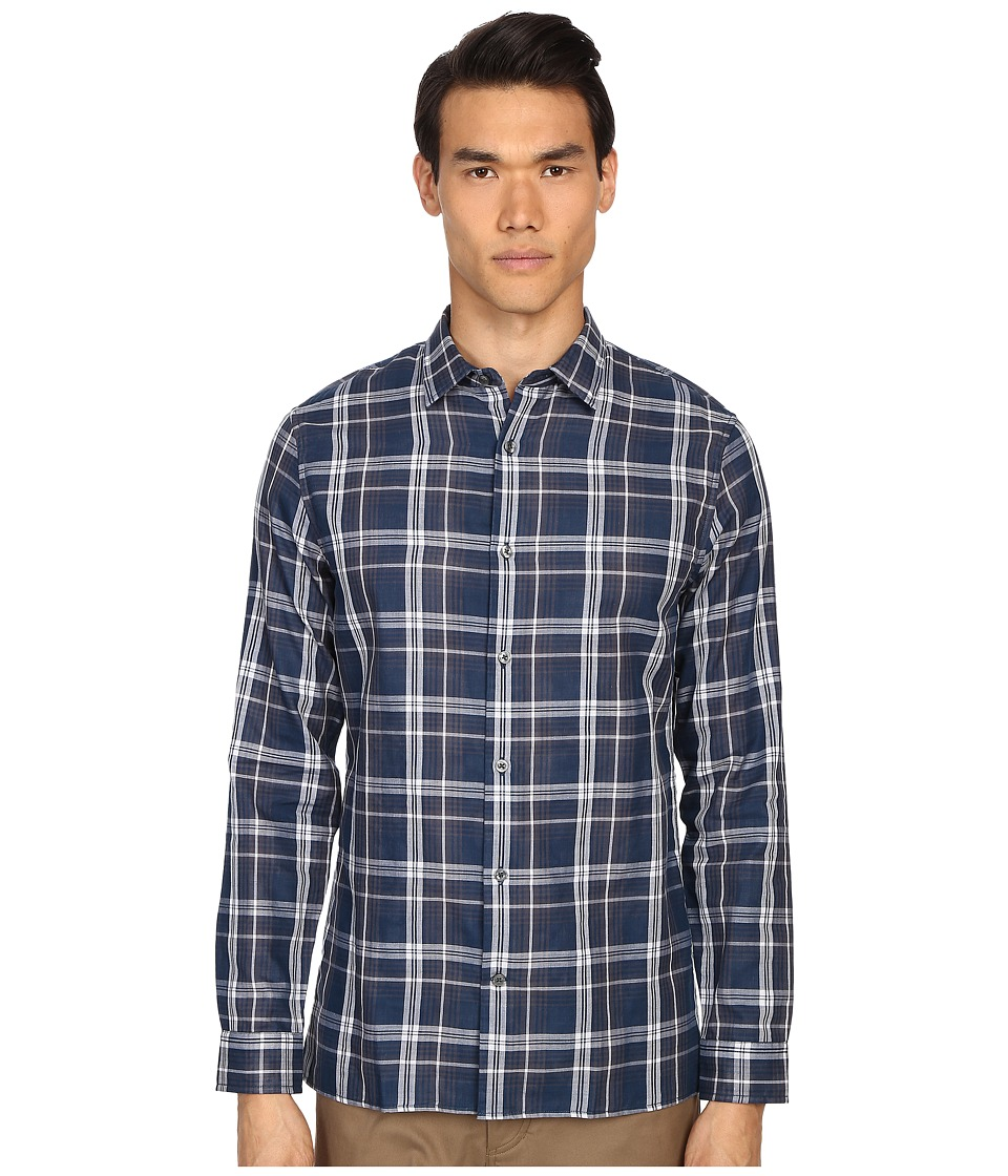 Vince - Double Face Square Hem Long Sleeve Melrose Shirt (Indigo) Men's Long Sleeve Button Up