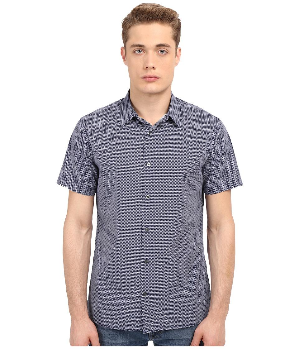 Vince - Jaquard Square Hem Short Sleeve Melrose Shirt (Indigo/Cloud) Men's Short Sleeve Button Up