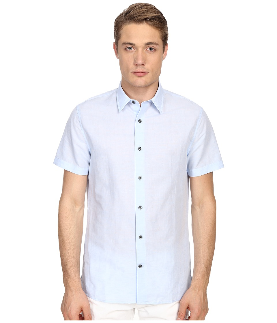 Vince - Linen Short Sleeve Melrose Shirt (Sky Blue) Men's Short Sleeve Button Up