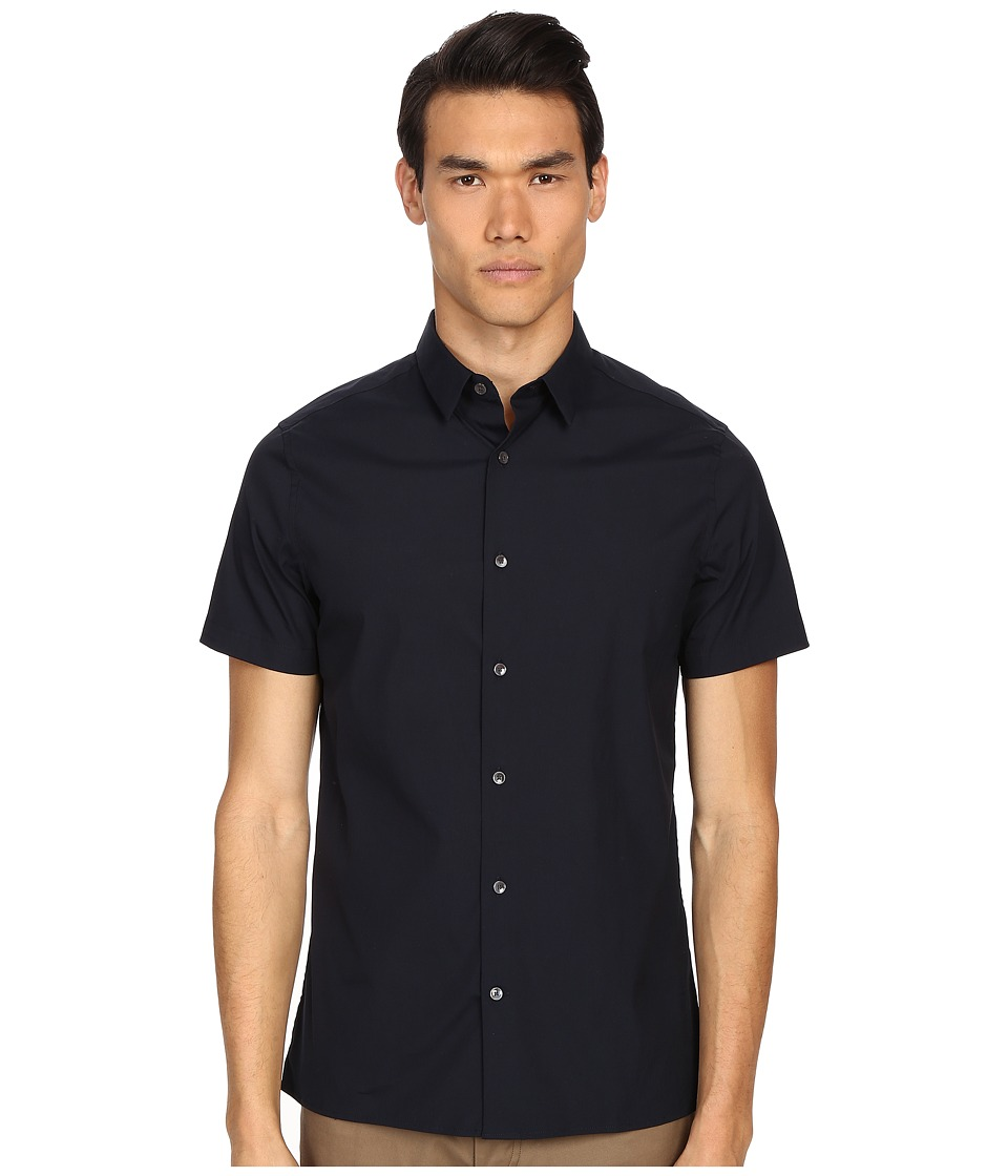 Vince - Stretch Square Hem Short Sleeve Manhattan Shirt (Coastal Blue) Men's Short Sleeve Button Up