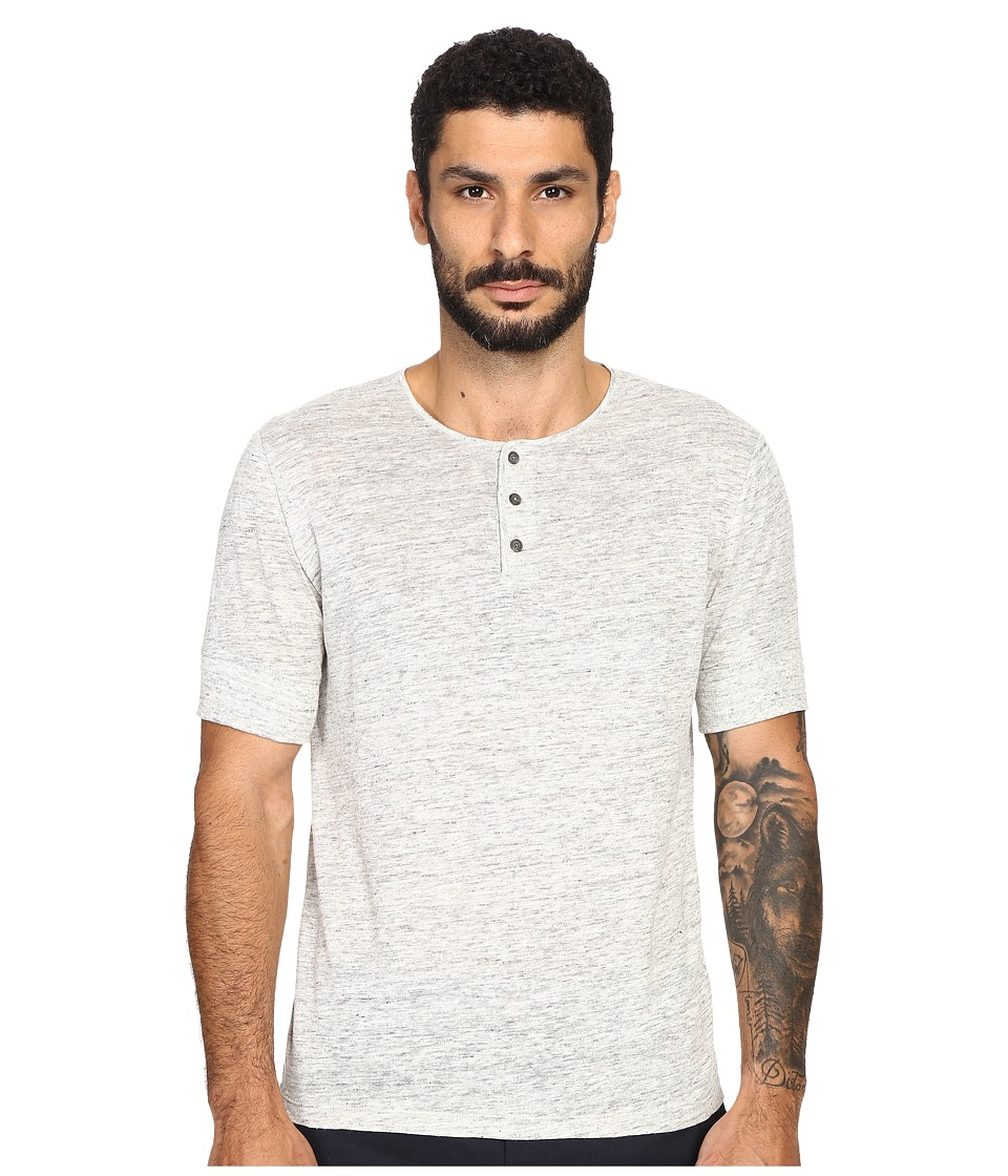 Vince - Linen Jersey Short Sleeve Henley (Heather Steel) Men's Clothing