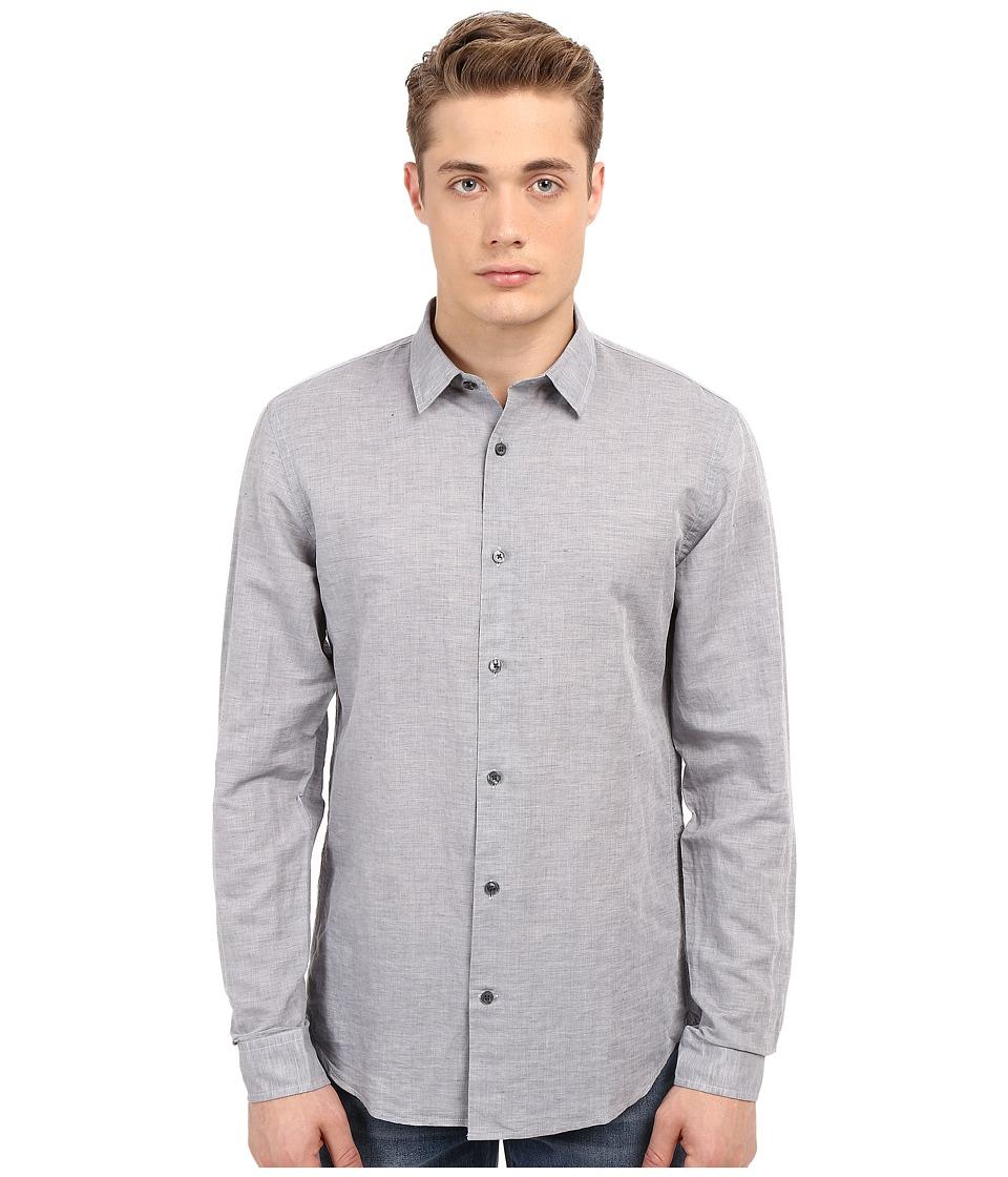 Vince - Melrose Linen Shirt (Smoke) Men's Long Sleeve Button Up