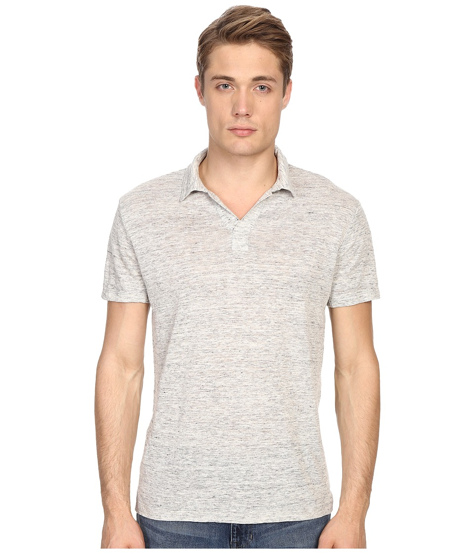 Vince - Linen Jersey Short Sleeve Polo (Heather Steel) Men's Short Sleeve Knit