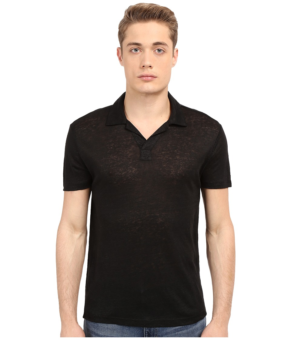 Vince - Linen Jersey Short Sleeve Polo (Black) Men's Short Sleeve Knit