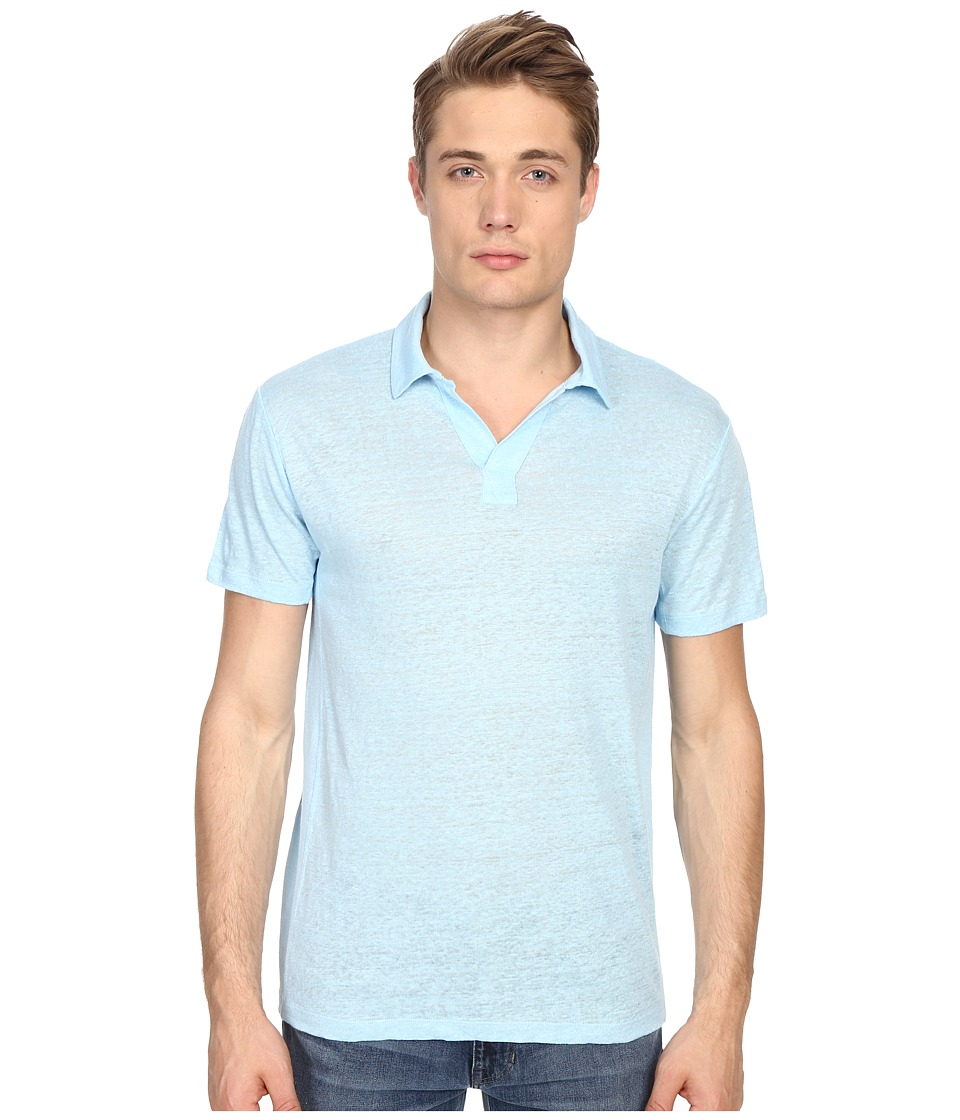 Vince - Linen Jersey Short Sleeve Polo (Aquamarine) Men's Short Sleeve Knit