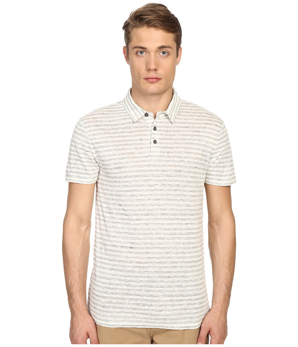Vince - Linen Feeder Stripe Short Sleeve Polo (Heather Steel/Linen White) Men's Short Sleeve Button Up